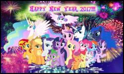 Size: 2544x1520   Tagged: safe, artist:andoanimalia, apple bloom, applejack, fluttershy, pinkie pie, princess cadance, princess celestia, princess flurry heart, princess luna, rainbow dash, rarity, scootaloo, shining armor, spike, starlight glimmer, sunset shimmer, sweetie belle, twilight sparkle, alicorn, pony, 2017, cutie mark, cutie mark crusaders, female, filly, happy new year, happy new year 2017, mane seven, mane six, royal sisters, the cmc's cutie marks, twilight sparkle (alicorn)