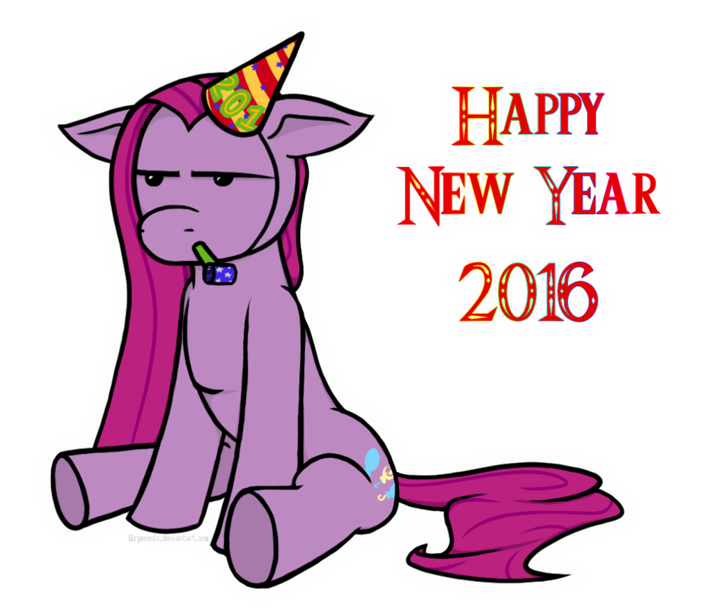 1329782 2016 artistunderwoodart grumpy hat new year party blower party hat party horn pinkamena diane pie pinkie pie safe simple background