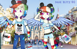 Size: 6128x3864 | Tagged: safe, artist:dashblitz90-fonnie, rainbow dash, human, absurd resolution, belly button, clothes, converse, dashblitz, disney world, humanized, male, midriff, rainbow blitz, rule 63, self ponidox, selfcest, shipping, shoes, short shirt, straight, winged humanization
