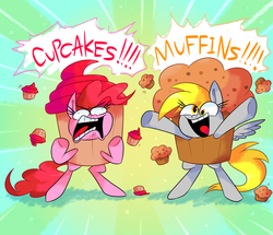 Size: 1000x860   Tagged: safe, artist:vdru7, derpy hooves, pinkie pie, pony, bipedal, clothes, costume, cupcake, cupcakes vs muffins, dialogue, faic, food, muffin, open mouth, yelling