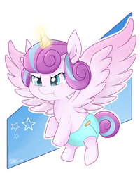 Size: 1200x1500 | Tagged: artist:pika-chany, cute, diaper, glowing horn, magic, princess flurry heart, safe, simple background, solo, spoiler:s06e25, spoiler:s06e26, to where and back again