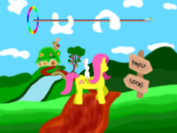 Size: 800x600 | Tagged: angel bunny, artist:barbra, fluttershy, fluttershy's cottage, ms paint, rainbow dash, safe, sonic rainboom