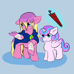 Size: 1024x1024 | Tagged: safe, artist:jolliapplegirl, princess flurry heart, princess skyla, alicorn, pegasus, pony, adopted offspring, crystal sisters, foal, injured, injured wing, next generation, offspring, parent:princess cadance, parent:shining armor, parents:shiningcadance, siblings, story included