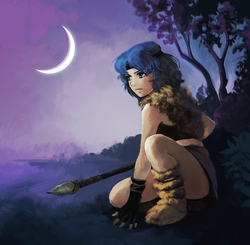 Size: 1000x981 | Tagged: safe, artist:yanabau, princess luna, human, alternate hairstyle, alternate universe, au:eqcl, child, clothes, commission, crescent moon, crouching, female, gloves, hairband, humanized, kneeling, loincloth, moon, night, schrödinger's pantsu, skirt, solo, spear, tribal, upskirt denied, warrior luna, weapon, younger