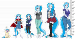 Size: 6308x3300   Tagged: safe, artist:askbubblelee, oc, oc only, oc:bubble lee, oc:imago, cat, unicorn, anthro, unguligrade anthro, absurd resolution, age progression, annoyed, anthro oc, baby, baby pony, blue eyes, braid, breasts, cape, cleavage, clothes, crying, cute, female, filly, foal, footed sleeper, foreshadowing, freckles, gap teeth, glasses, hand on hip, heart, hnnng, jewelry, line-up, long hair, long tail, looking at you, looking away, looking up, mare, necklace, ocbetes, one eye closed, open, pacifier, pajamas, pants, pet, pigtails, pleated skirt, shirt, short hair, skirt, socks, stockings, teary eyes, thigh highs, unamused, upsies, wingding eyes, wink, younger, zettai ryouiki