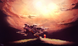 Size: 2000x1200 | Tagged: safe, artist:freeedon, fluttershy, pony, beautiful, cloud, crepuscular rays, female, rear view, scenery, scenery porn, sitting, sky, solo, sun, sunrise, tree, under the tree