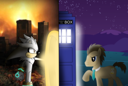 Size: 3952x2648 | Tagged: safe, artist:quasdar, artist:xxsilverthehedgehog, doctor whooves, time turner, pony, crossover, male, silver the hedgehog, sonic the hedgehog (series), stallion