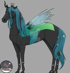 Size: 1024x1070 | Tagged: dead source, safe, artist:poncho261, queen chrysalis, changeling, changeling queen, horse, female, hoers, realistic, solo, species swap, watermark