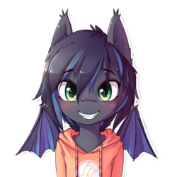 Size: 512x512 | Tagged: safe, artist:hoodie, oc, oc only, oc:midnight aegis, bat pony, pony, blushing, bust, clothes, ear fluff, hoodie, looking at you, simple background, smiling, solo, spread wings, transparent background