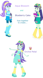 Size: 646x1159 | Tagged: safe, artist:berrypunchrules, aqua blossom, blueberry cake, equestria girls, background human, fusion, multiple arms, multiple eyes