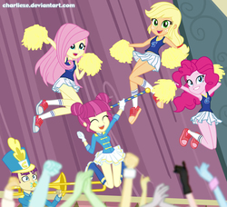 Size: 1445x1320 | Tagged: safe, artist:charliexe, applejack, fluttershy, majorette, pinkie pie, sweeten sour, equestria girls, friendship games, armpits, background human, boots, cheerleader, clothes, converse, cute, hatless, legs, missing accessory, pleated skirt, pom pom, shoes, skirt, skirt lift, sneakers, socks, tanktop, wondercolts