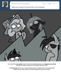 Size: 666x795 | Tagged: artist:egophiliac, bat pony, cartographer's cap, changeling, changeling oc, changeling queen, changeling queen oc, dent, dented snout, eyepatch, female, filly, grayscale, hat, marauder's mantle, monochrome, moon roc, moonstuck, oc, oc:frolicsome meadowlark, oc:imogen, oc:pebbl, oc:sunshine smiles (egophiliac), pony, princess luna, safe, woona, woonoggles, younger