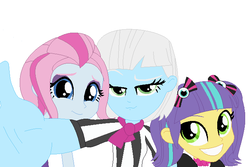 Size: 672x450 | Tagged: safe, artist:selusunost, photo finish, pixel pizazz, violet blurr, equestria girls, the snapshots