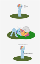 Size: 973x1541 | Tagged: safe, artist:planetkiller, rainbow dash, scootaloo, pegasus, pony, comic:wingermortis, chest fluff, comic, crying, dead, descriptive noise, eyes closed, gravestone, meme, open mouth, prone, sad, scootaloo's parents, simple background, tears of pain