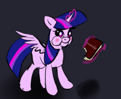 Size: 791x644 | Tagged: safe, artist:xbi, twilight sparkle, alicorn, pony, :t, aweeg*, bibliovore, black background, book, bookhorse, eating, female, knowledge, levitation, looking at you, magic, mare, pica, puffy cheeks, shadow, silly, silly pony, simple background, smiling, solo, spread wings, telekinesis, that pony sure does love books, twilight sparkle (alicorn), wings