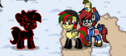 Size: 672x299 | Tagged: safe, oc, oc only, oc:attraction, oc:caki, pony town, attypone, photo shoot of caki, plushie