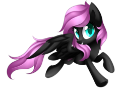 Size: 2392x1705 | Tagged: safe, artist:scarlet-spectrum, oc, oc only, oc:cream cloud, pegasus, pony, art trade, female, flying, looking at you, mare, pink hair, simple background, smiling, solo, transparent background