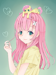 Size: 1250x1684 | Tagged: safe, artist:d-tomoyo, fluttershy, human, blushing, clothes, colored pupils, cute, gradient background, heart, human ponidox, humanized, looking at you, open mouth, pony hat, self ponidox, shyabetes, smiling, smol, solo