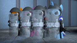 Size: 3840x2160 | Tagged: safe, artist:seriff-pilcrow, minuette, oc, oc:cherry blossom, oc:edge, oc:merc fox, 3d, gun, high res, police officer, rifle, riot shield, weapon