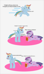 Size: 878x1451 | Tagged: safe, artist:planetkiller, derpibooru exclusive, rainbow dash, twilight sparkle, alicorn, pegasus, pony, unicorn, comic:wingermortis, book, chest fluff, comic, crying, flying, looking up, panic, prone, pun, scared, simple background, twilight sparkle (alicorn), why