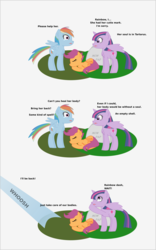 Size: 1086x1739 | Tagged: safe, artist:planetkiller, derpibooru exclusive, rainbow dash, scootaloo, twilight sparkle, alicorn, pegasus, pony, comic:wingermortis, chest fluff, comic, corpse, dead, eyes closed, gravestone, looking up, sad, simple background, twilight sparkle (alicorn)