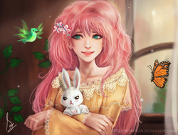 Size: 1817x1376 | Tagged: safe, artist:hammysan, angel bunny, fluttershy, bird, butterfly, human, beautiful, bust, clothes, dress, female, frown, holding, humanized, long hair, looking at you, portrait, smiling