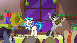 Size: 1280x720 | Tagged: a hearth's warming tail, background pony, cherry berry, coco crusoe, cravat, dj pon-3, earth pony, evening stroll, glasses, gramophone, hat, octavia melody, paraviolet, pony, safe, screencap, unicorn, unnamed pony, victrola scratch, vinyl scratch, violin