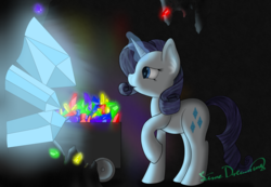 Size: 2164x1495   Tagged: safe, artist:limedreaming, rarity, crystal, female, gem, magic, minecart, solo