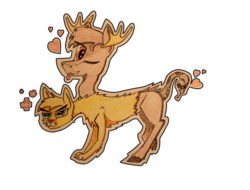 Size: 4160x3168 | Tagged: safe, artist:bumskuchen, oc, oc only, chimera, cougar (animal), moose, snake, absurd resolution, multiple heads, request, simple background, solo, three heads, traditional art, transparent background