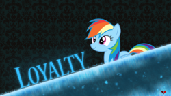 Size: 1920x1080 | Tagged: safe, artist:dashiesparkle, artist:mentalsuicide1, rainbow dash, pegasus, pony, female, happy, loyalty, mare, part of a set, signature, smiling, solo, vector, wallpaper