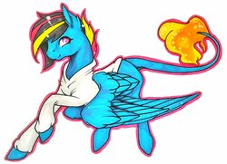Size: 1024x743 | Tagged: safe, artist:oneiria-fylakas, oc, oc only, oc:eternal flame, pegasus, pony, clothes, hoodie, male, simple background, solo, stallion, traditional art, white background