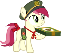 Size: 11988x10400 | Tagged: 28 pranks later, absurd res, artist:cyanlightning, badge, cap, cookie, cute, cyan's filly guides, female, filly, filly guides, food, hat, holding, ribbon, roseluck, safe, simple background, solo, .svg available, transparent background, vector, younger