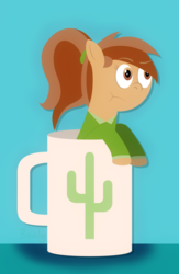 Size: 1248x1920 | Tagged: safe, artist:b-cacto, oc, oc only, oc:coffee talk, pony, coffee mug, cup, cup of pony, lineless, micro, mug, smolpone, solo
