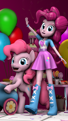 Size: 810x1440 | Tagged: safe, artist:vinuldash, pinkie pie, equestria girls, 3d, balloon, boots, box art, bracelet, cake, candy, candy cane, chocolate, clothes, cupcake, cute, diapinkes, eqg promo pose set, equestria girls plus, food, high heel boots, human ponidox, jewelry, lollipop, party cannon, pose, self ponidox, skirt
