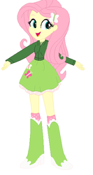 Size: 297x560 | Tagged: safe, fluttershy, equestria girls, boots, clothes, cute, green, high heel boots, hoodie, jacket, simple background, skirt, socks, solo, white background