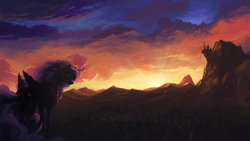Size: 1920x1080 | Tagged: safe, artist:bra1neater, princess luna, canterlot, cloud, crepuscular rays, female, mountain, scenery, scenery porn, sky, solo, sun, sunrise, tree, twilight (astronomy), waterfall, wood