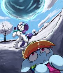 Size: 2263x2615 | Tagged: safe, artist:otakuap, rainbow dash, rarity, pony, unicorn, :t, angry, clothes, cute, dashabetes, disproportionate retribution, female, floppy ears, frown, glare, gritted teeth, levitation, magic, mare, on back, perspective, rearing, scarf, scenery, snow, snowball, telekinesis, this will not end well, uh oh, wavy mouth, wide eyes, winter, you dun goofed
