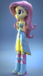 Size: 1080x1920 | Tagged: 3d, artist:fluttershy-ek, boots, clothes, dress, equestria girls, fall formal outfits, fluttershy, high heel boots, safe, solo