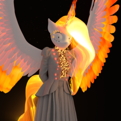 Size: 1500x1500 | Tagged: safe, artist:tahublade7, nightmare star, princess celestia, rapidash, anthro, plantigrade anthro, 3d, arm behind back, black background, clothes, dress, female, gown, looking at you, mane of fire, now you fucked up, oh crap, ragelestia, shrunken pupils, simple background, solo, spread wings, this will end in tears and/or a journey to the moon, to the moon, wide eyes, xk-class end-of-the-world scenario, you dun goofed