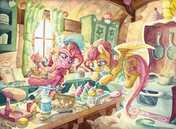 Size: 6886x5064   Tagged: safe, artist:the-wizard-of-art, fluttershy, pinkie pie, earth pony, pegasus, pony, apron, baking, batter, book, bowl, clothes, colored eyelashes, cookbook, cupcake, cute, dessert, detailed, duo, egg, featured image, female, flour, fluffy, food, frosting, hair bun, hat, indoors, kitchen, licking, licking lips, lon lon milk, mare, messy mane, milk, mixer, oven, prehensile mane, stirring, stove, sugarcube corner, table, the legend of zelda, tongue out, traditional art, window