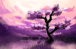 Size: 2000x1300   Tagged: safe, artist:xbi, twilight sparkle, pony, female, scenery, scenery porn, solo, style emulation, tree, twilight (astronomy)