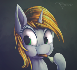 Size: 1375x1250 | Tagged: abstract background, artist:ferasor, bust, drumstick, fallout equestria, fanfic, fanfic art, female, food, hooves, horn, mare, meat, oc, oc:littlepip, oc only, ponies eating meat, pony, portrait, safe, solo, unicorn