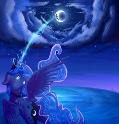Size: 4609x4780 | Tagged: absurd res, artist:vavaig69, celestial mechanics, glowing horn, looking up, magic, moon, night, princess luna, safe, solo, spread wings, wings