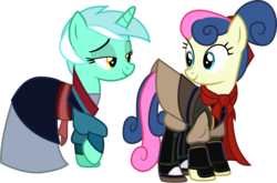 Size: 1514x1001 | Tagged: safe, artist:cloudyglow, bon bon, lyra heartstrings, sweetie drops, clothes, clothes swap, cosplay, costume, crossover, disney, li shang, mulan, raised hoof, simple background, transparent background, vector