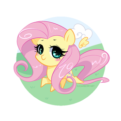 Size: 1200x1200 | Tagged: safe, artist:sugarberry, fluttershy, chibi, cute, female, floating wings, heart eyes, looking at you, running, simple background, smiling, solo, white background, wingding eyes