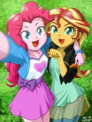 Size: 902x1200 | Tagged: safe, artist:uotapo, pinkie pie, sunset shimmer, equestria girls, bracelet, clothes, cute, diapinkes, duo, duo female, female, happy, humans doing horse things, jacket, jewelry, looking at you, moe, open mouth, selfie, shimmerbetes, signature, skirt, smiling, uotapo is trying to murder us