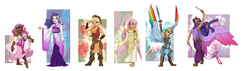 Size: 4600x1300 | Tagged: absurd res, applejack, armor, armpits, artist:joan-grace, barefoot, boots, bracelet, butterfly, clothes, colored wings, colored wingtips, dark skin, dress, ear piercing, earring, element of magic, elf ears, feet, flexing, fluttershy, glare, gypsy pie, human, humanized, jewelry, kimono (clothing), lipstick, magic wand, mane six, muscles, piercing, pinkie pie, rainbow dash, rarity, safe, smiling, smirk, spread wings, sword, tiara, toga, twilight sparkle, twilight sparkle (alicorn), unicorns as elves, wand, weapon, winged humanization, wings