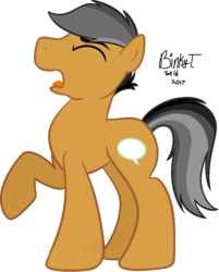 Size: 1098x1364 | Tagged: safe, artist:binkyt11, artist:dashiesparkle, quibble pants, medibang paint, open mouth, raised hoof, simple background, solo, transparent background