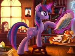 Size: 3178x2356   Tagged: safe, artist:atlas-66, twilight sparkle, pony, unicorn, bioshock infinite, book, female, levitation, magic, reading, russian, solo, telekinesis, translated in the comments, unicorn twilight, would you kindly