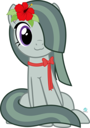Size: 2000x2841 | Tagged: :3, artist:arifproject, catface, cute, earth pony, flower, flower in hair, hair over one eye, hibiscus, marblebetes, marble pie, meme, pony, ribbon, safe, simple background, sitting, sitting catface meme, solo, transparent background, vector